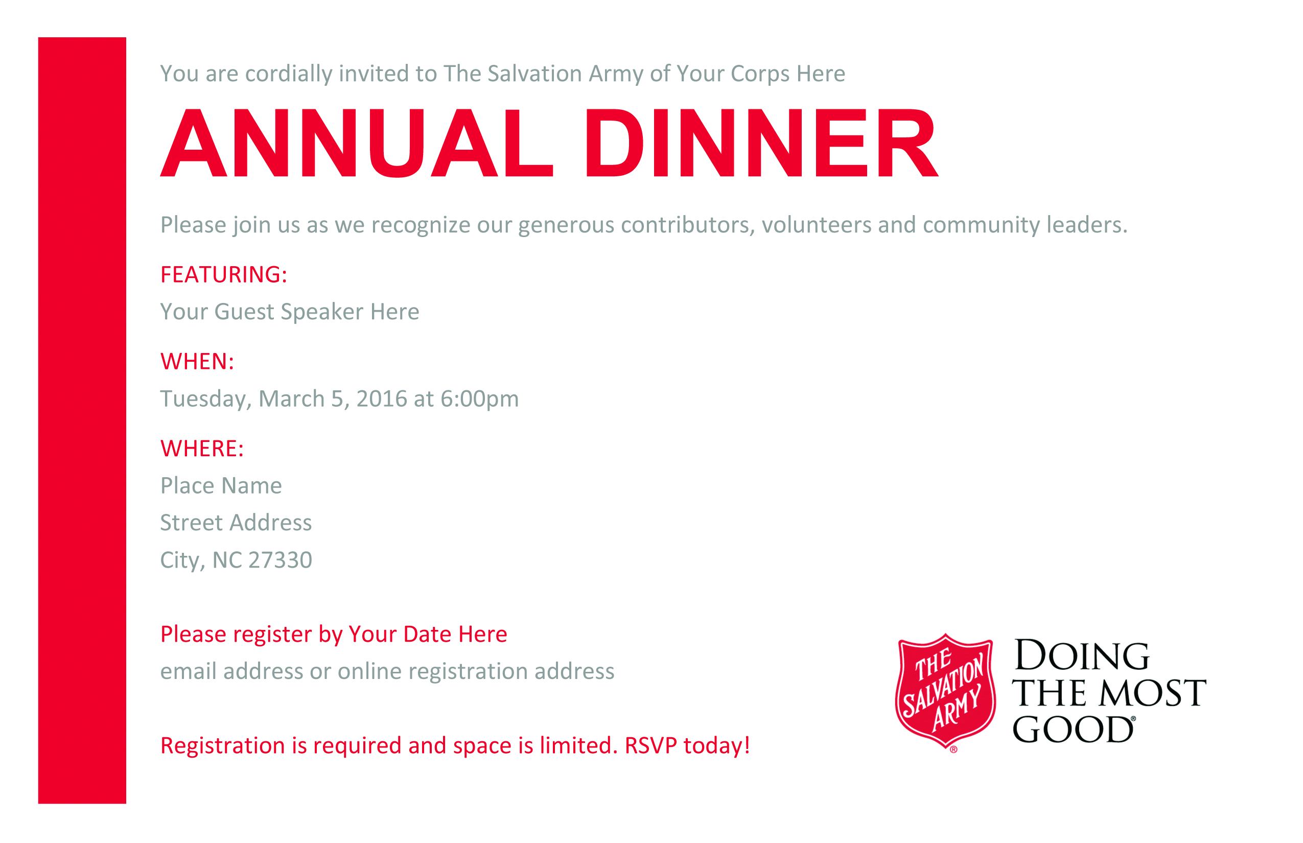 Annual Dinner Resources The Salvation Army – Annual Dinner Invitation Card