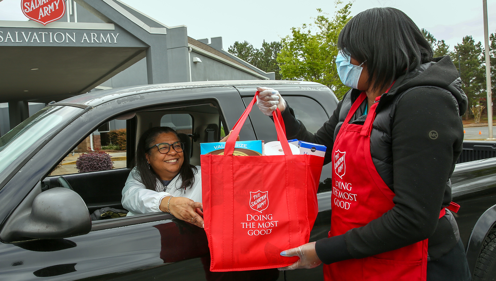 Salvation Army drive through food program