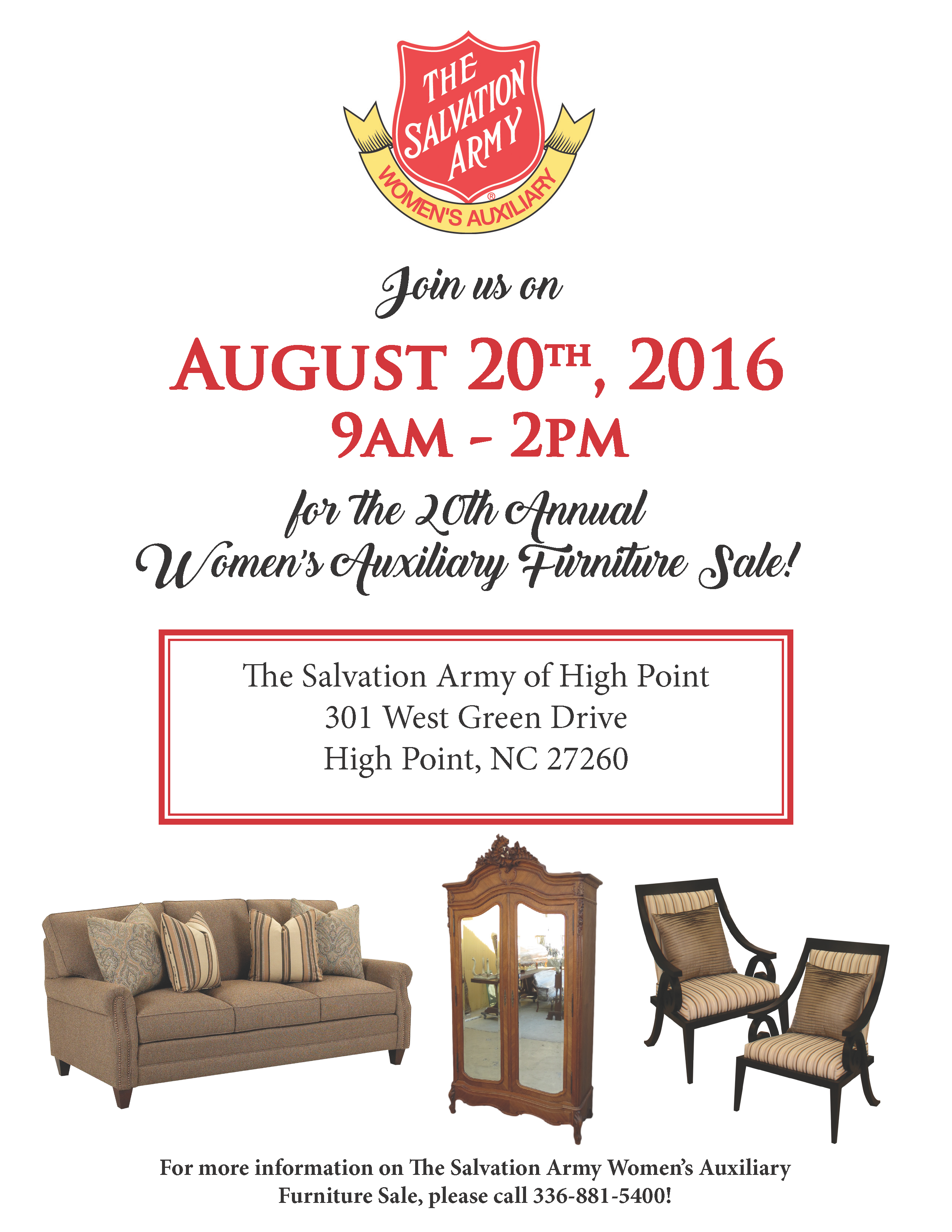 Women 39 S Auxiliary Furniture Sale The Salvation Army Of High Point Nc